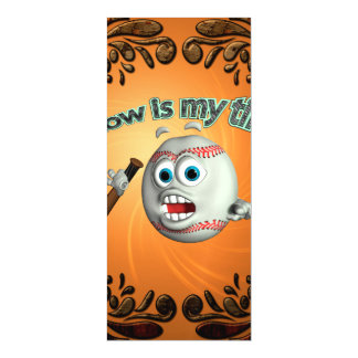 Funny cartoon baseball, now is my time magnetic invitations