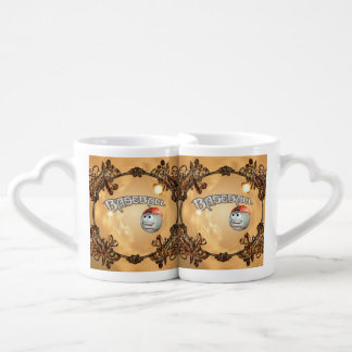 Funny cartoon baseball with decorative floral elem couples' coffee mug set