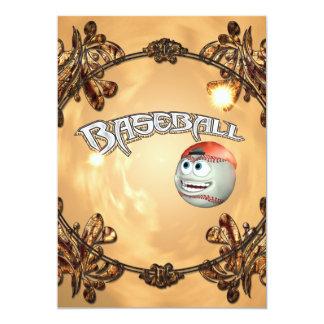 Funny cartoon baseball with decorative floral elem 5x7 paper invitation card