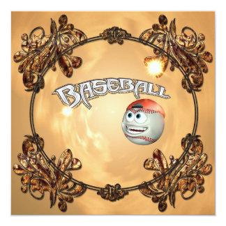 Funny cartoon baseball with decorative floral elem 5.25x5.25 square paper invitation card