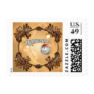 Funny cartoon baseball with decorative floral elem stamp