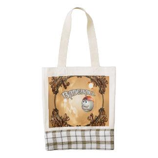 Funny cartoon baseball zazzle HEART tote bag