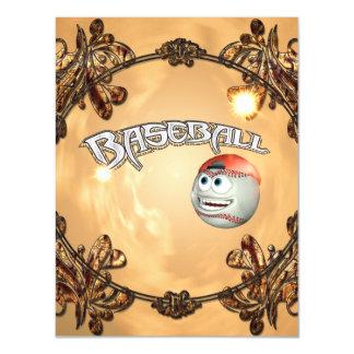 Funny cartoon baseball magnetic invitations