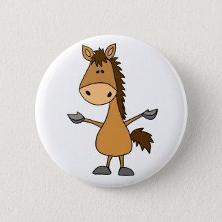 Funny Cartoon Bay Horse Pinback Button
