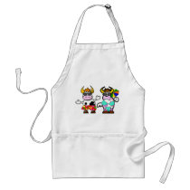 Funny Cartoon Beach Cow Couple Apron