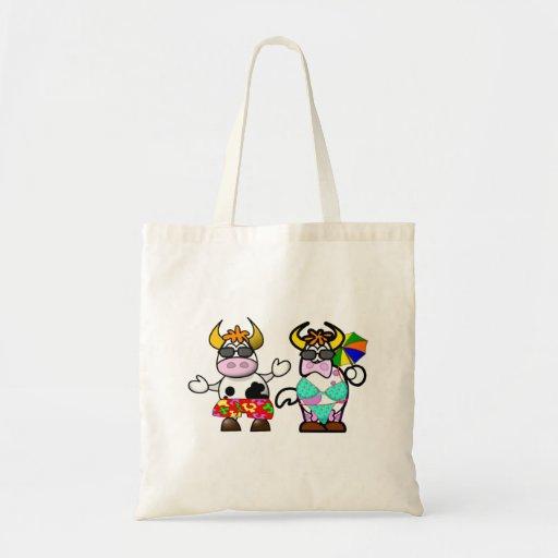 Funny Cartoon Beach Cow Couple Bag