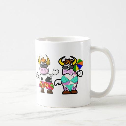 Funny Cartoon Beach Cow Couple Cup