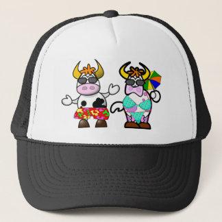 Funny Cartoon Beach Cow Couple Hat