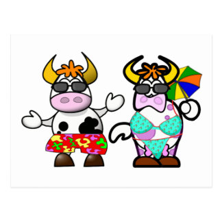 Funny Cartoon Beach Cow Couple Post Card