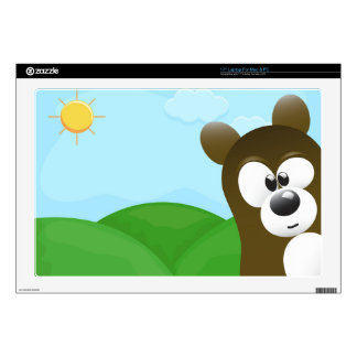 "Funny Cartoon Bear Photo Bomb Decal For 17"" Laptop"