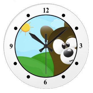 Funny Cartoon Bear Photo Bomb Wall Clock