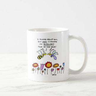 Funny Cartoon Bees in May Flower Gardener Mug