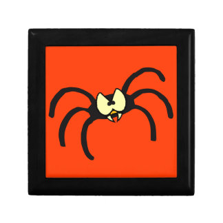 Funny Cartoon Black Spider Keepsake Box