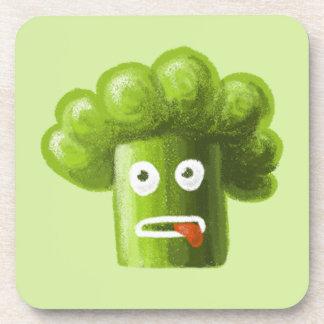 Funny Cartoon Broccoli Beverage Coaster
