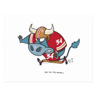 funny cartoon bull playing football postcard