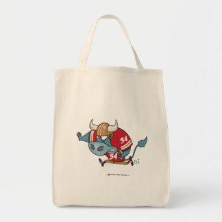 funny cartoon bull playing football tote bag