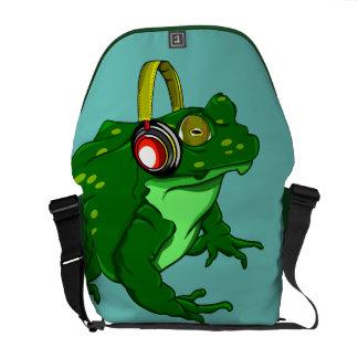 Funny Cartoon Bullfrog  Listening to Headphones Courier Bag