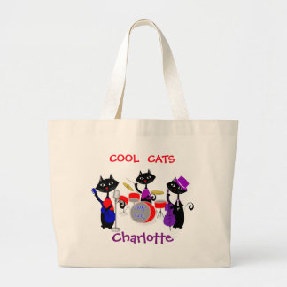 Funny Cartoon Cartoon Cat Musicians Cool Cats Large Tote Bag