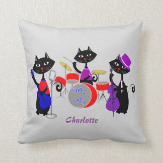Funny Cartoon Cartoon Cat Musicians Cool Cats Throw Pillow