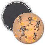 Funny cartoon cat 3 inch round magnet
