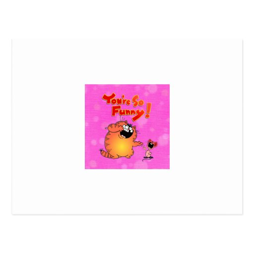 Funny Cartoon Cat and Mouse Postcard