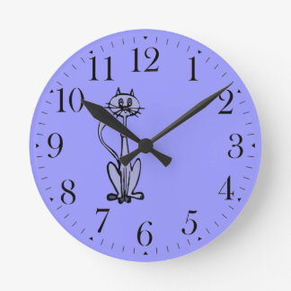 Funny Cartoon Cat Drawing Animal-lover Clock
