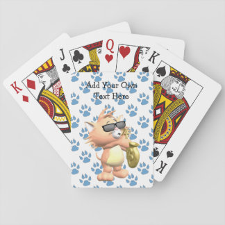 Funny Cartoon Cat Playing Cards - Blue Paw Print