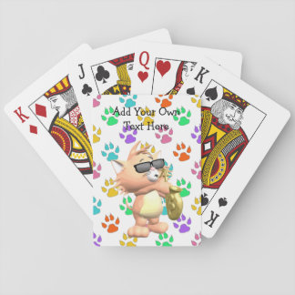 Funny Cartoon Cat Playing Cards - Multi Paw Print