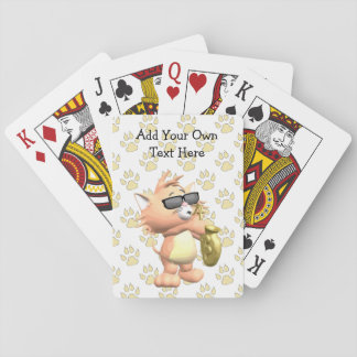 Funny Cartoon Cat Playing Cards -Yellow Paw Print