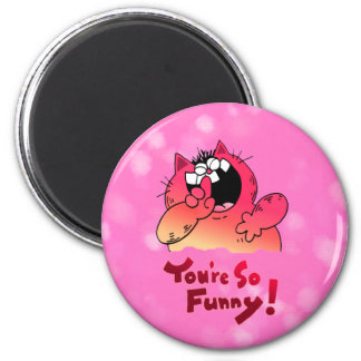 Funny Cartoon Cat | Silly Cartoon Cat 2 Inch Round Magnet