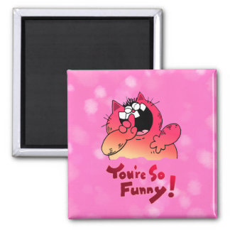 Funny Cartoon Cat | Silly Cartoon Cat 2 Inch Square Magnet