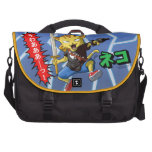 Funny Cartoon Cat with Gun and Sword and lightning Bag For Laptop