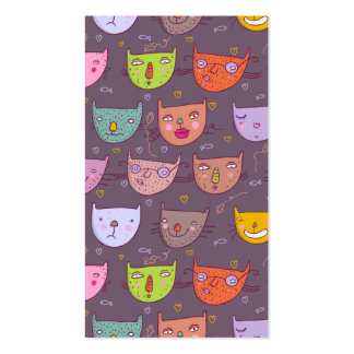 Funny cartoon cats business card
