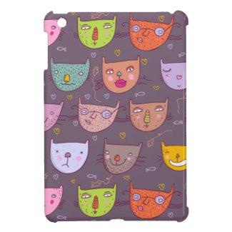 Funny cartoon cats iPad mini cases