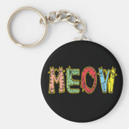 Funny Cartoon Cats Meow Keychain