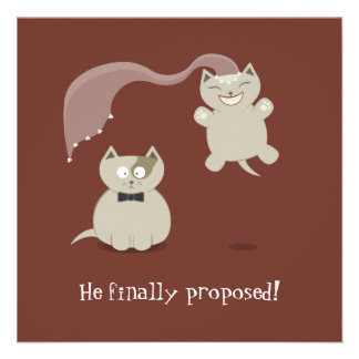 Funny Cartoon Cats Save the Date Announcement