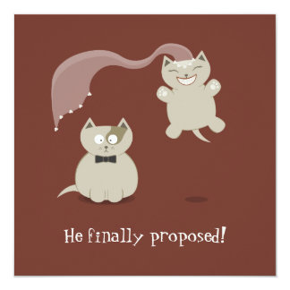 """Funny Cartoon Cats Save the Date Announcement 5.25"""" Square Invitation Card"""