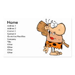 funny cartoon caveman with club business card templates