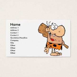 funny cartoon caveman with club business card