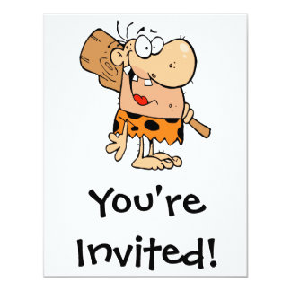 funny cartoon caveman with club 4.25x5.5 paper invitation card