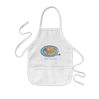 funny cartoon character blue hat and apple pie kids' apron