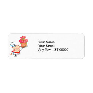 funny cartoon chef holding cake label