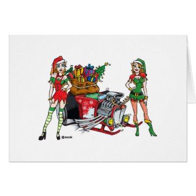 Funny cartoon christmas hotrod greeting cards. sexy elves Christmas hot rod