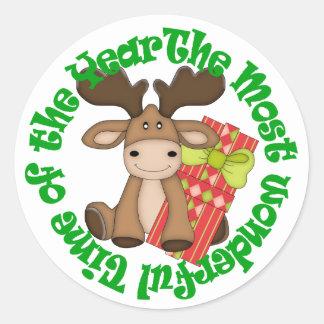 Funny Cartoon Christmas Moose Classic Round Sticker