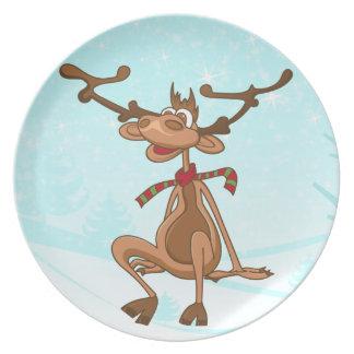Funny Cartoon Christmas Xmas Reindeer Melamine Plate