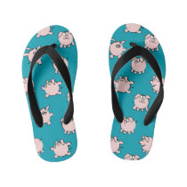 Funny Cartoon Comics Pig Choose Color FFlop Kid's Flip Flops