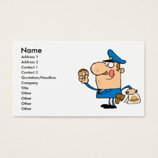 funny cartoon cop eating donuts business card