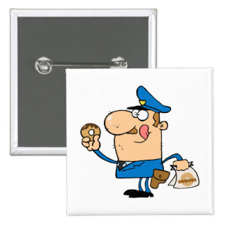 funny cartoon cop eating donuts buttons