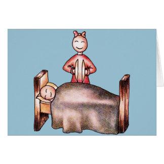 Funny Cartoon Couple Girl Cymbals Boy Sleeping Card
