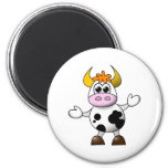 Funny Cartoon Cow 2 Inch Round Magnet